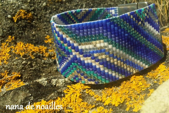 Bracelet Manchette  Perles de rocailles Miyuki Tissées / collection WAX/Blue