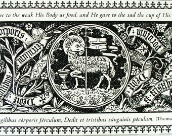 The Lamb of God wood etching