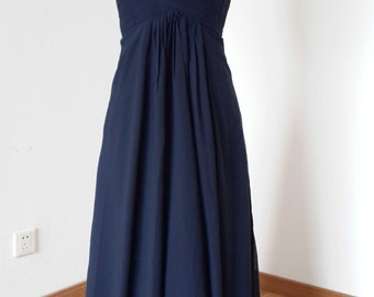 2015 Sweetheart Navy Blue Chiffon Long Bridesmaid Dress