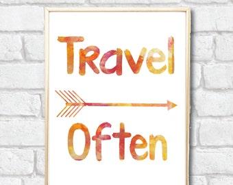 Travel Often orange watercolor artwork Digital download art in 8x10 and 5x7 printable
