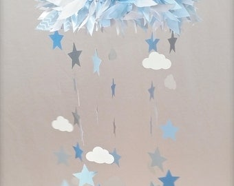 Blue, White, and Gray Stars and Clouds  Crib Mobile