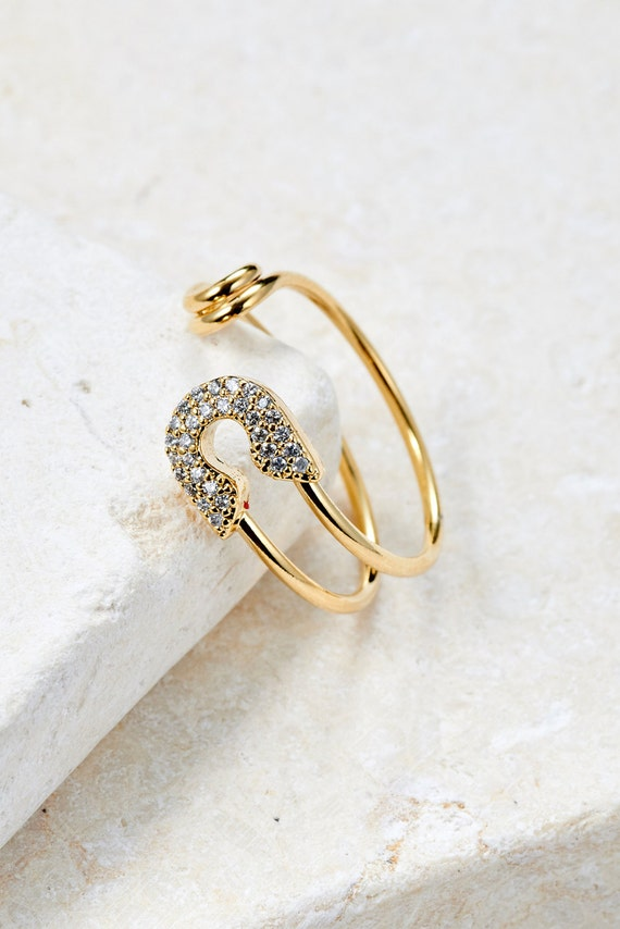 Safety Pin Ring white gold/ rose gold/ yellow gold plated unique ring simple ring gift idea adjustable ring