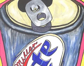 Print of Original acrylic painting entitled Sundays beer mancave boys men sunday night football print MEN3041