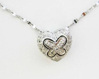 WHITE gold, 14k, diamond heart pendant