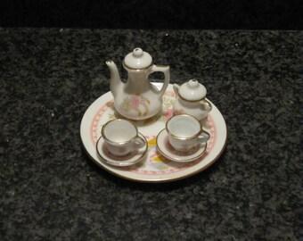 Miniature dollhouse tea set with water flowers and ducks, porcelain children tea set