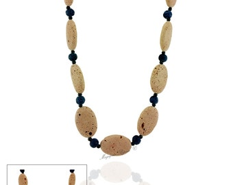 """70 cm necklace composed of special stones and original """"spongy"""" Stone Sponge"""