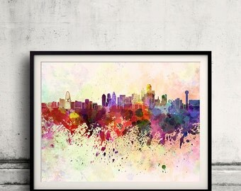Dallas skyline in watercolor background 8x10 in to 12x16 Poster Digital Wall art Illustration Print Art Decorative  - SKU 0067