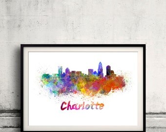Charlotte skyline in watercolor over white background with name of city 8x10 in. to 12x16 in. Poster Wall art Illustration Print  - SKU 0240