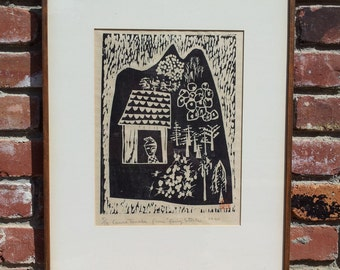 """Vintage Original Woodblock Print Signed Canna Tanabe #5 Of 18 From """"Fairy Stork"""" 1960 Stamped"""