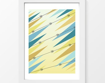 """Forest / Triangles arrows yellow brun blue printable art home decor downloadable art to print at home or at a print shop A4 and 8.5"""" x 11"""""""