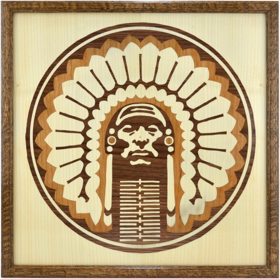 Wood Inlay Wall Decor : Chief illiniwek wall hanging wooden art with inlay by lignapix
