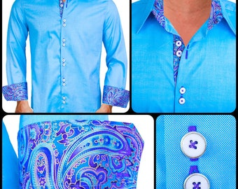 Light Blue with Purple Paisley Men's Designer Dress Shirt - Made To Order in USA