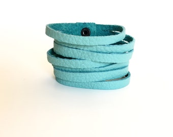 Leather Cuff Bracelet for Women // Leather Jewelry // Teal Bracelet // Teal Leather // Aqua Bracelet