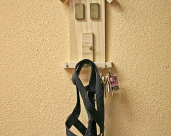 """Wall key holder, Key House - wall hanging """"house"""" that holds keys, pet leash and other light items, Key Holder"""