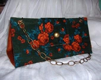 Roses corduroy handbag