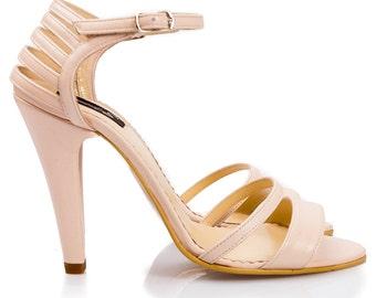 Denna Blush Pink Leather Sandals