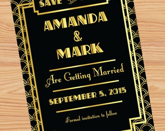 Gatsby themed Save the Date