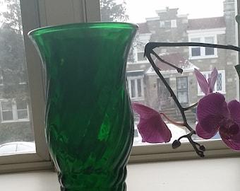 spiral pattern green glass vase vintage