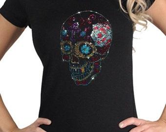 Women's Colorful Rhinestone Studs Gothic Sugar Skull Dia De Los Muertos T-Shirt