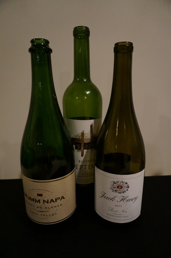Items similar to assorted empty wine bottles with labels for What to make with empty wine bottles