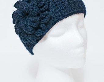 Navy Crocheted Headband with Hydrangea Flower