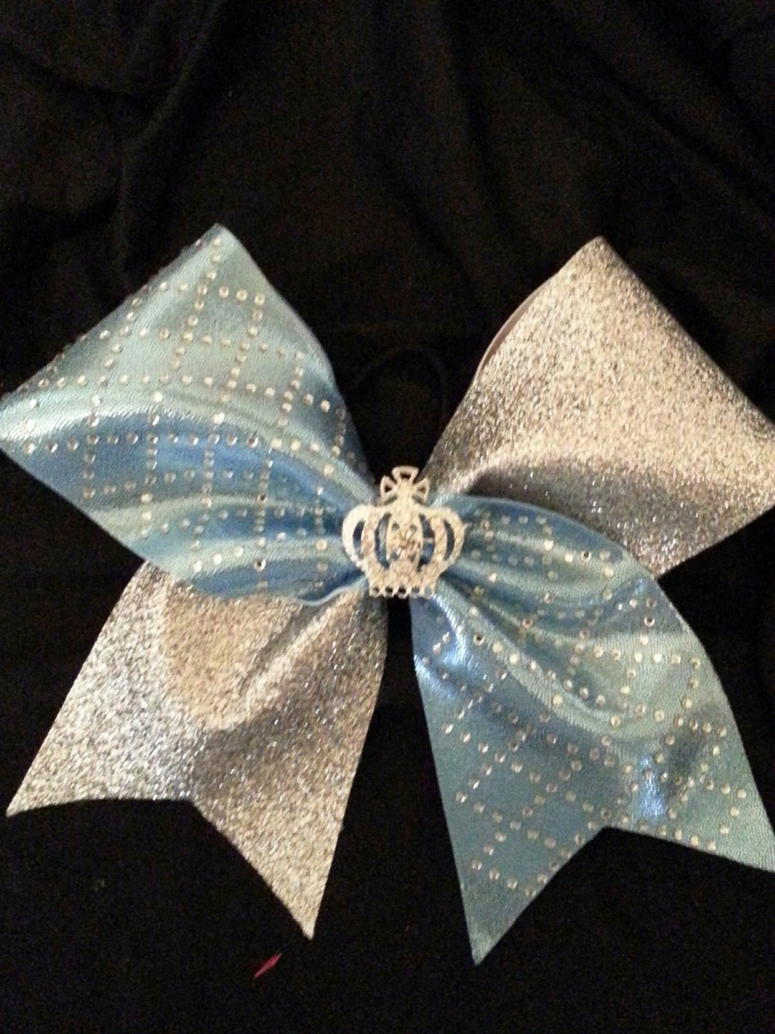 Light Blue/Silver Rhinestone Cheer Bow with by ...
