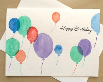 Hand painted Greeting Card, 5x7, Watercolor Birthday Card, Original Watercolor Cards, Handmade Card, with Matching Envelop
