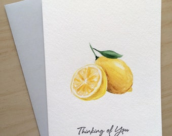 Hand painted Card, Thinking of you Card, Watercolor Cards, Watercolor Lemons, Handmade Card