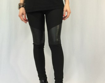 Women Black Leggings / Long Faux Leather Stretch Leggings / Skinny Leather Pants / EXPRESS SHIPPING / LA 2008