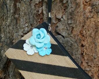 SALE: 50% OFF**Handmade Black Stripes Cosmetic Bag, Zipper pouch, Wristlet