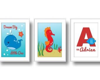 Ocean Nursery, Mix n' Match Nursery Wall Art, Baby Ocean Animals