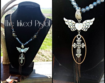 Unchained Wings Chain/Beaded Necklace