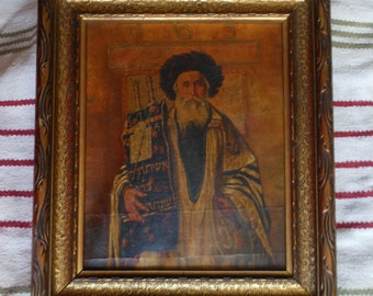 Jewish painting Rabbi Torah - Kaufmann Possibly done around WWII Send OFFERS