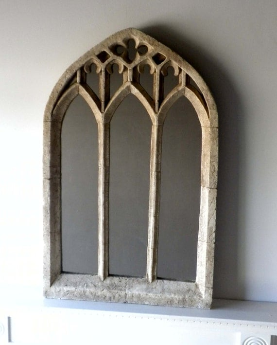Gothic church window mirror in antique limestone for Miroir collable