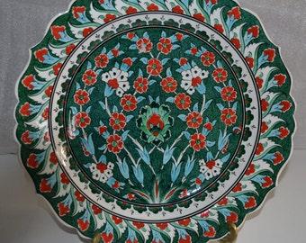 Traditional Ottoman iznik Motif, Ceramic Plate Made by Guner Kanik