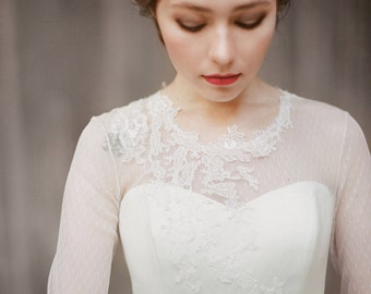Agnia // Long sleeve wedding dress - Wedding gown - Tulle wedding gown - Ethereal wedding dress - Swiss dot wedding - Peach wedding gown