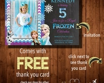 DISNEY'S FROZEN CHEVRON Birthday Party Invitation with Personal Photo- Digital File- Includes Free Thank You Card