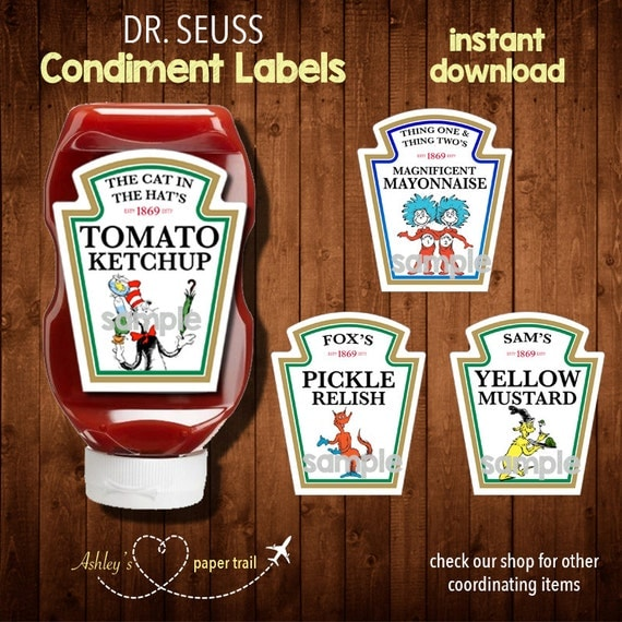 heinz label template - doctor seuss condiment labels digital file by