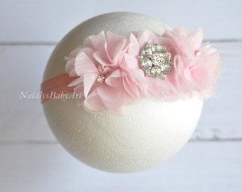 Baby girl Headband Crystal Pink girl headband Wedding girl headband Pink baby Hairband Infant headband baby girl