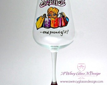 Shopaholic Hand Painted Wine Glass - 1 Wine Glass