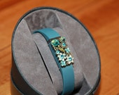 Fitbit/Jawbone Fitness Tracker Bling Charm/Slider Accessory - Blue, pretty flowers, gems brasstone