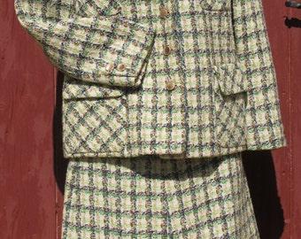 Green Tweed Suit French Vintage