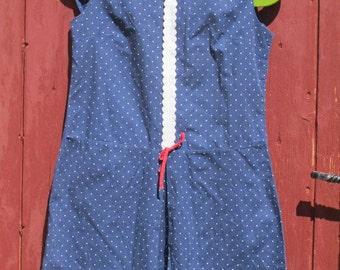 1960s Polka Dot Mini Dress Peter Pan collar S