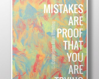 "16""x20"" Mistakes are proof that you are trying - Classroom poster, motivational poster, classroom decoration"