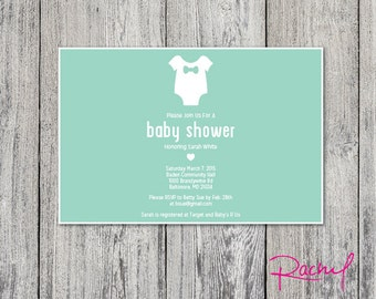 Modern Baby Shower invitation DIGITAL FILE customizable colors