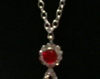 Ruby Red Rhinestone flower necklace