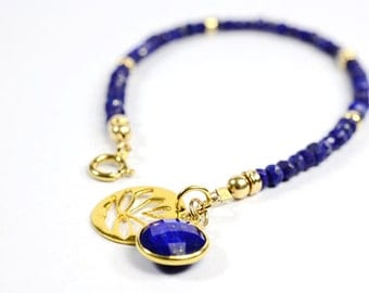 Lapis Lazuli Bracelet, Blue Lapis Jewelry, Gemstone Jewellery, Sapphire Blue Bracelet, 14K gold filled, Lotus charm, September Birthstone