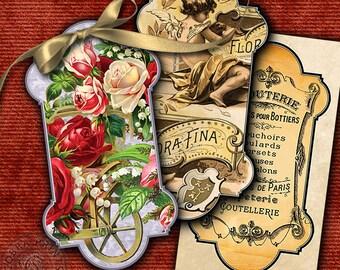 10 Spool Holders - Digital Collage Sheet for Scrapbooking, Tags, Spool Keepers, Jewelry Holders - Printable Digital Downloads CP-235