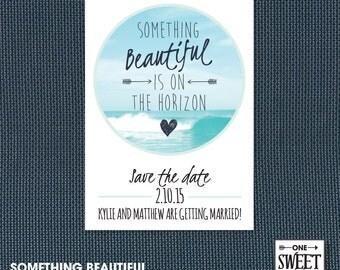 Wedding Invitation Printable, Beach Wedding, Ocean, Save the Date, Unique, Blue, Printable wedding invitation, Customize, DIY print