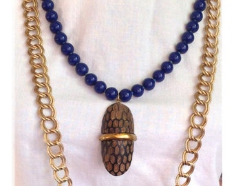 """Blue and gold statement necklace // ceramic beads // chunky chain // carved seed pendant // OOAK // up cycled // 24"""" to 32"""""""